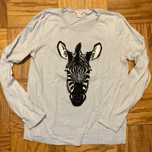 J. Crew Zebra Sweater- long sleeve + crewneck